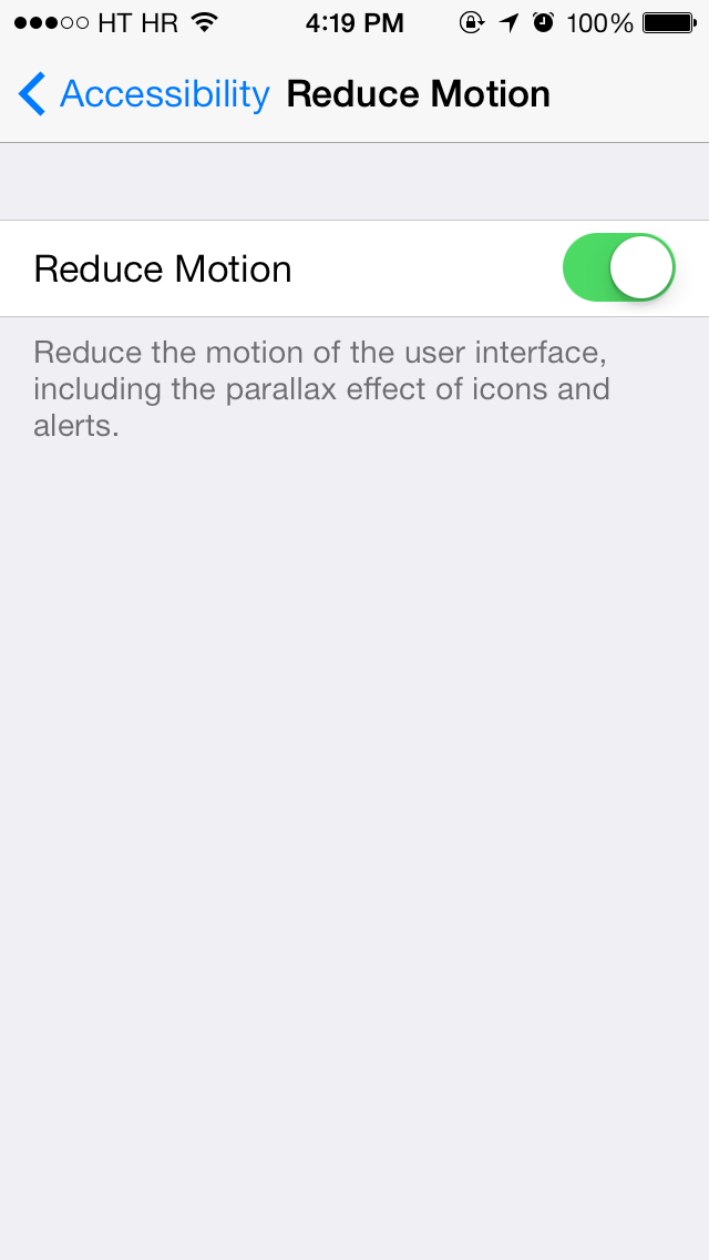iOS 7 (Settings, Reduce Motion 001)
