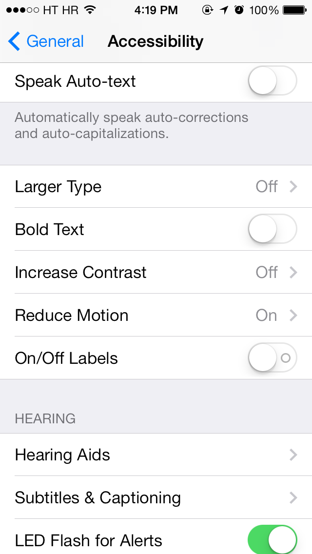 iOS 7 (Settings, Reduce Motion 002)