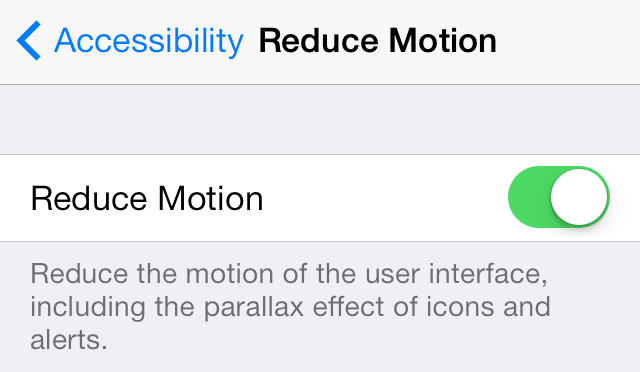 iOS 7 (Settings, Reduce Motion 003)