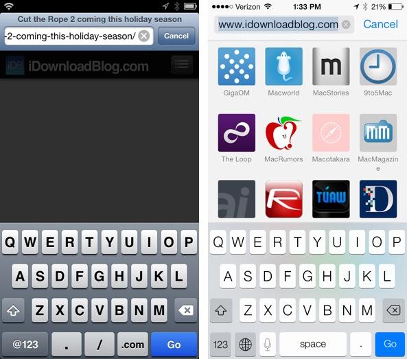 iOS 7 vs iOS 6 COM button Safari
