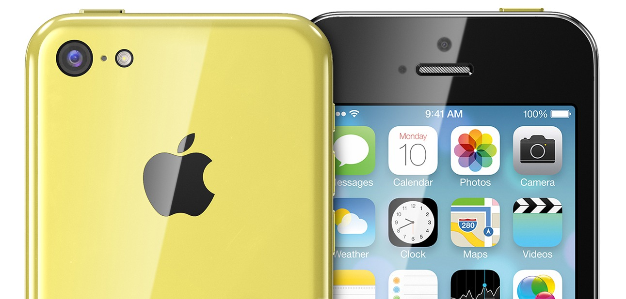 iPhone 5C (yellow, front, back, Martin Hajek 001)
