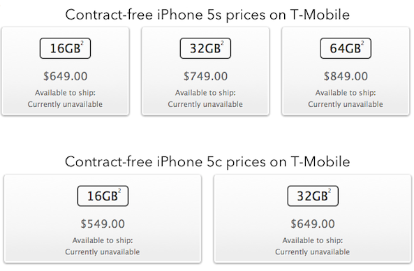 iPhone 5s and 5c off contract prices