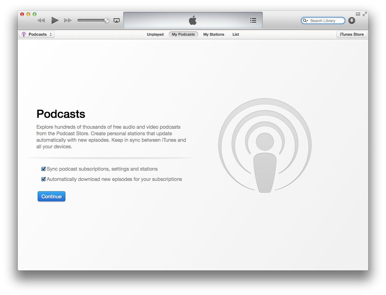 iTunes 11.1 (Podcasts enable)