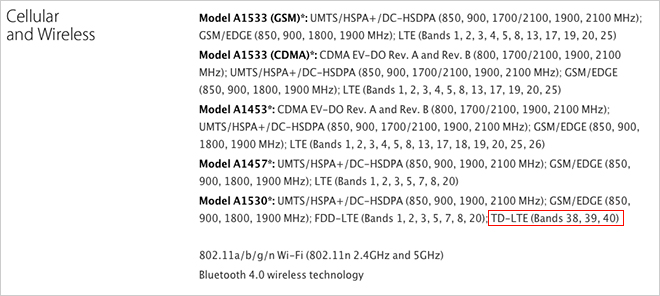 lte bands china mobile