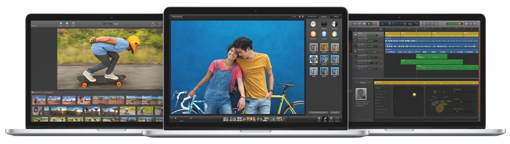 2013 iLife for Mac (three up, MacBook)