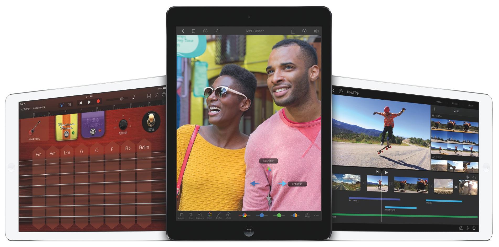 2013 iLife for iOS (three up, iPad Air)