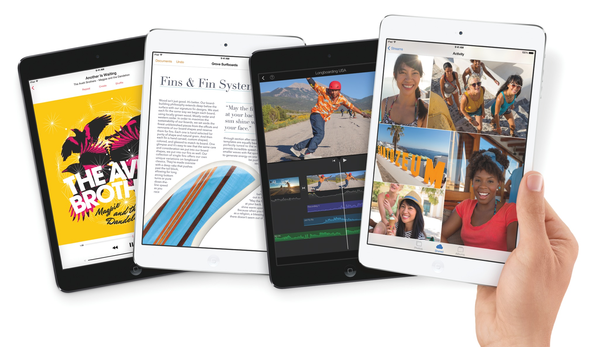 2013 iPad mini 2 (Retina, Four up, hand)