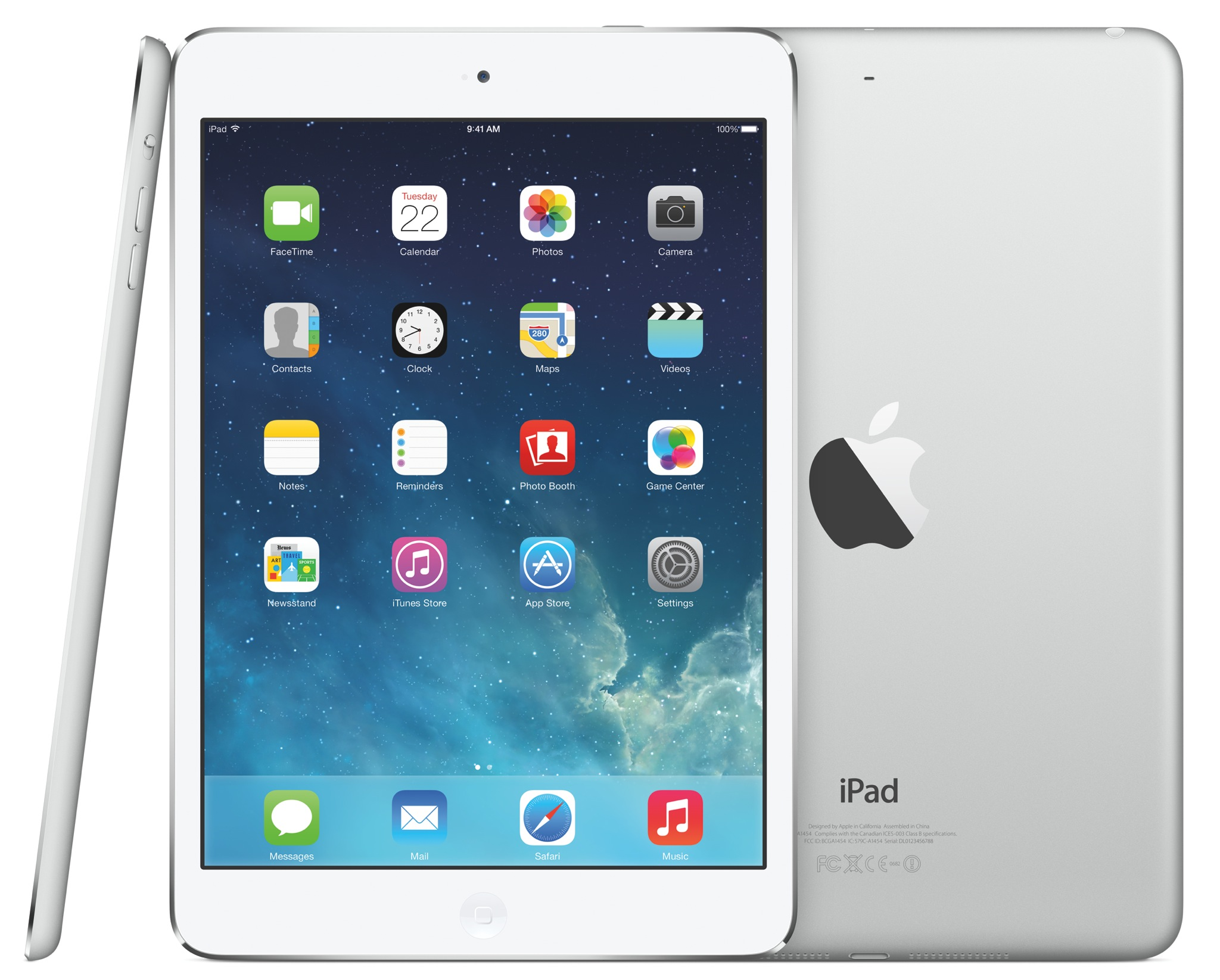 2013 iPad mini 2 (Retina, three up, profile, front, back)