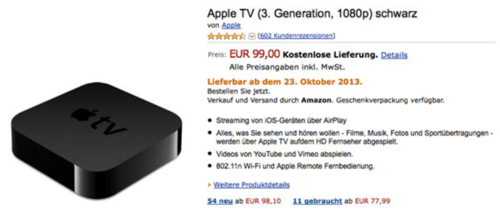 Amazon Germany Apple TV listing October 29