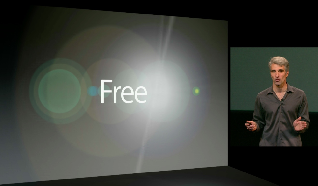 Apple October 2013 event (Craig Federighi, free software)