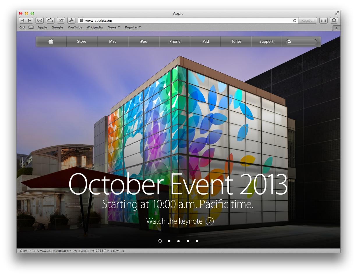 Apple webpage (OCtober 2013 event)