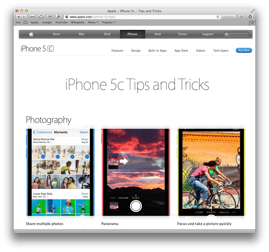 Apple website (iPhone 5c Tips and Tricks 001)