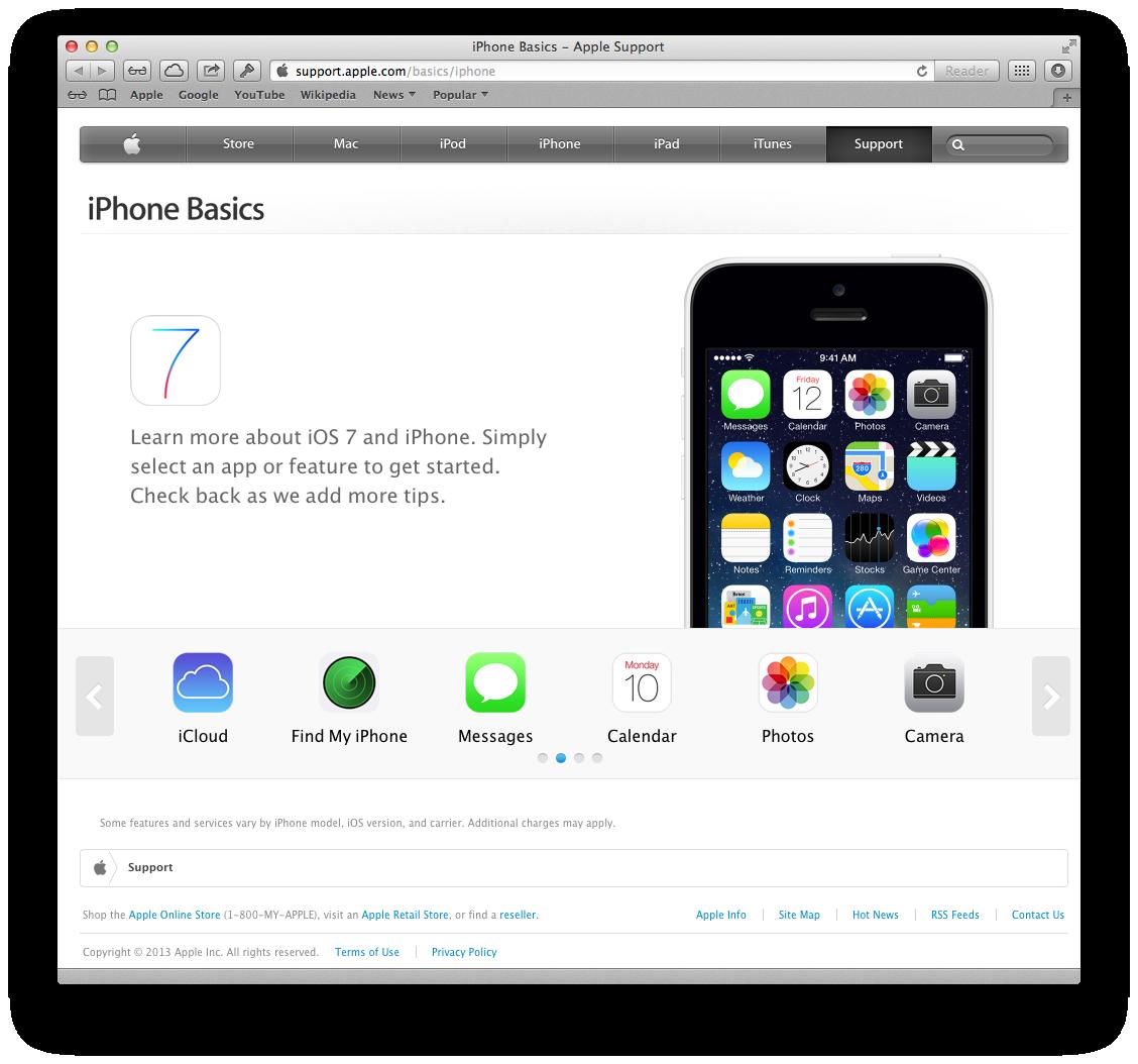 Apple website (iPhone Basics 002)