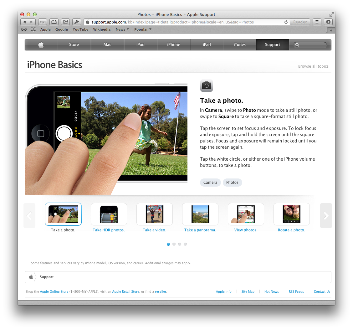 Apple website (iPhone Basics 003)