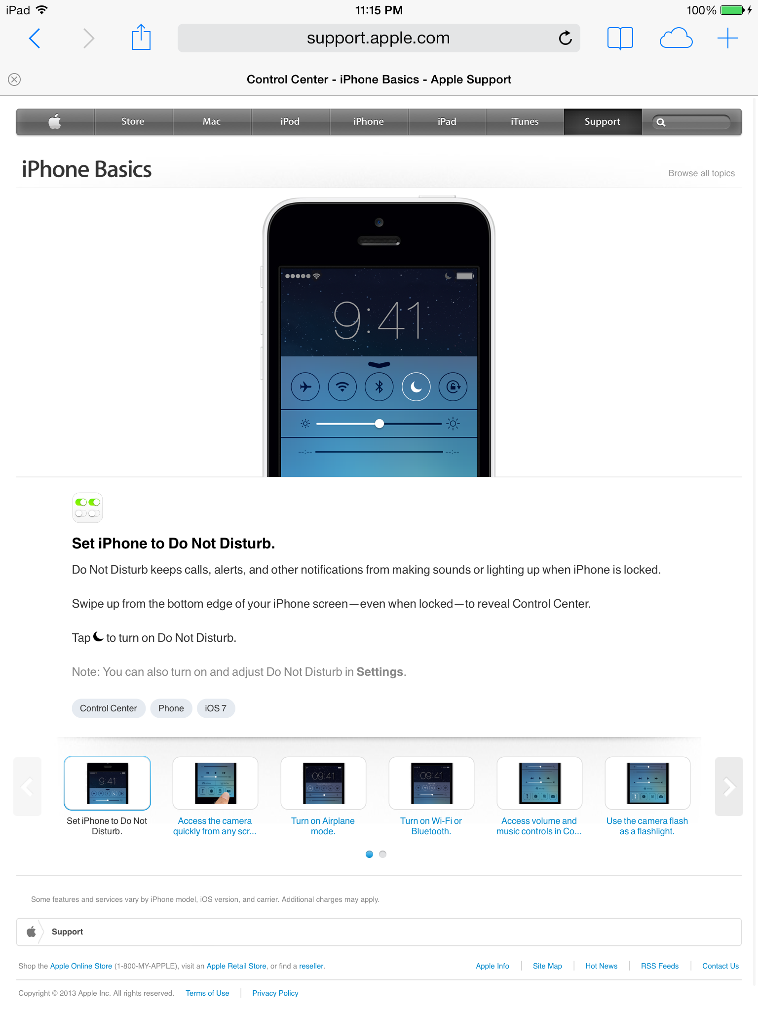 Apple website (iPhone basics 006)