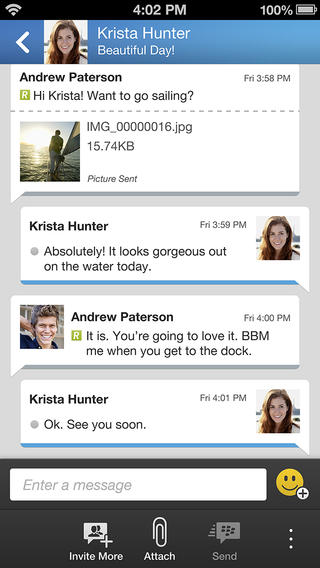 BBM 1.0.1 for iOS (iPhone screenshot 002)