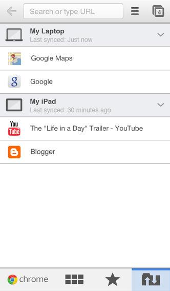 Chrome 30 for iOS (iPhone screenshot 001)