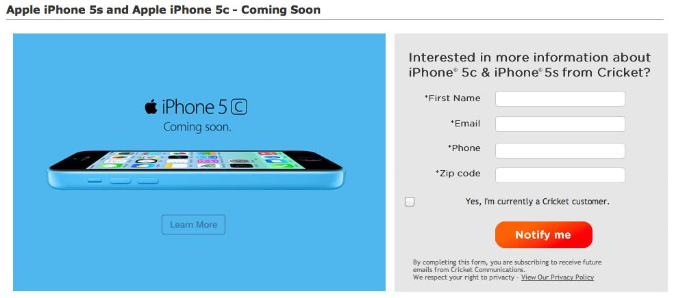 Cricket (iPhone 5s, 5c, coming soon)