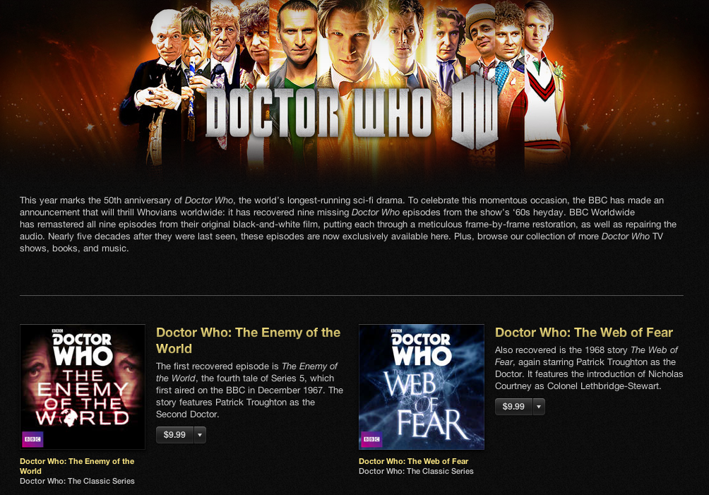 Doctor Who (missing episodes on iTunes)