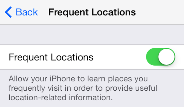 Frequent Locations settings