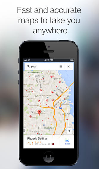 Google Maps 2.3.4 for iOS (iPhone screenshot 001)