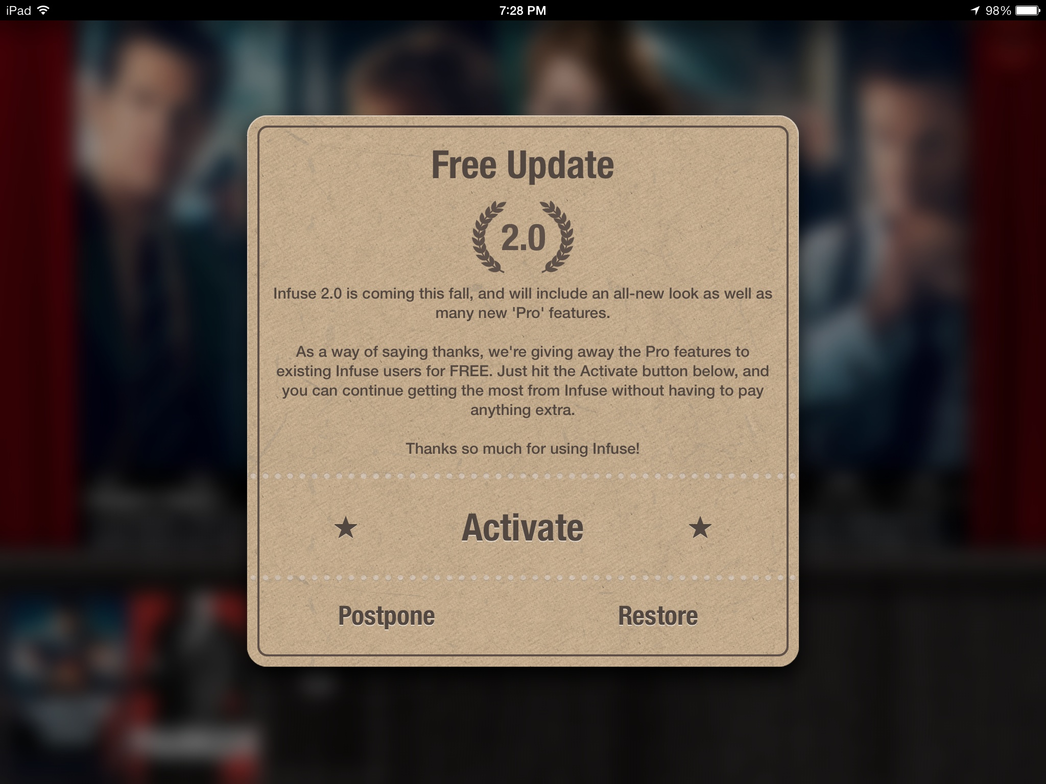 Infuse 2.0 for iOS (free update prompt)