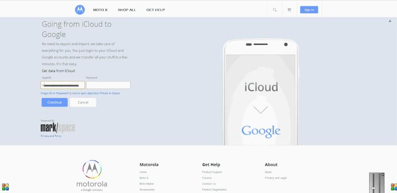 Motorola iCloud migration tool (web screenshot 001)