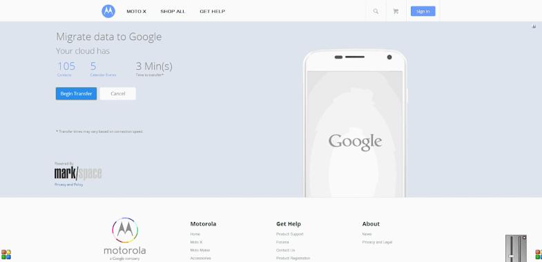 Motorola iCloud migration tool (web screenshot 002)