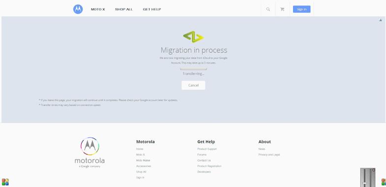 Motorola iCloud migration tool (web screenshot 003)