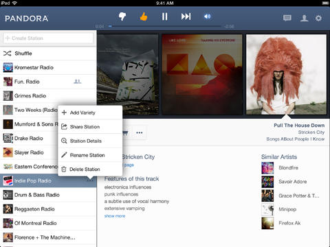 Pandora 5.0 for iOS (iPad screenshot 001)