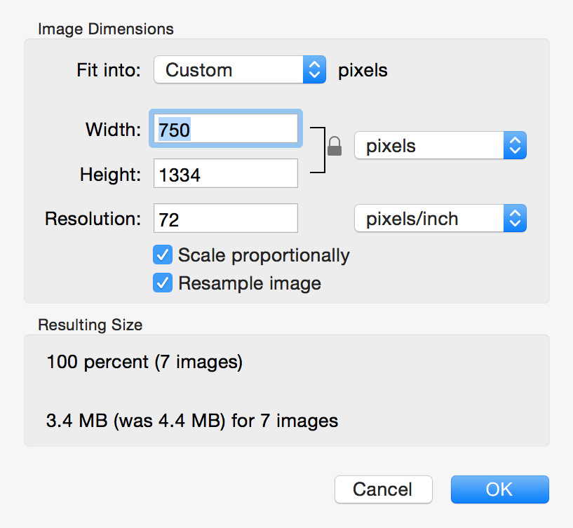 Resize multiple images Mac