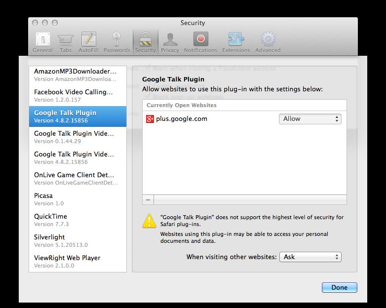 Safari on Mavericks (Settings, Security, Plug-ins 002)