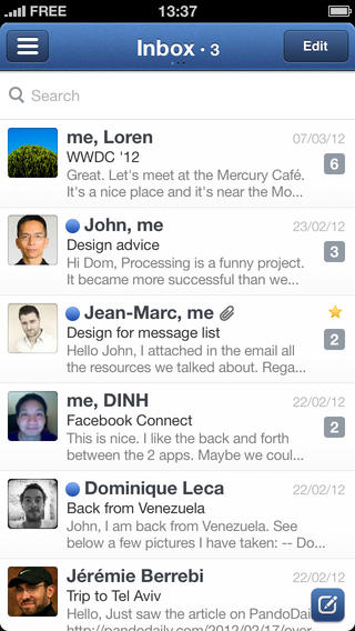 Sparrow 1.3.5 for iOS (iPhone screenshot 001)