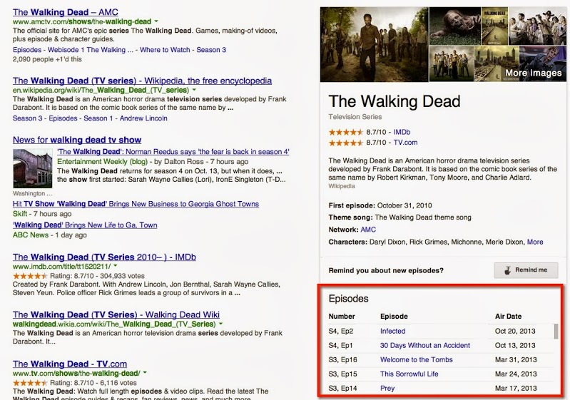 TV show episodes in Google search