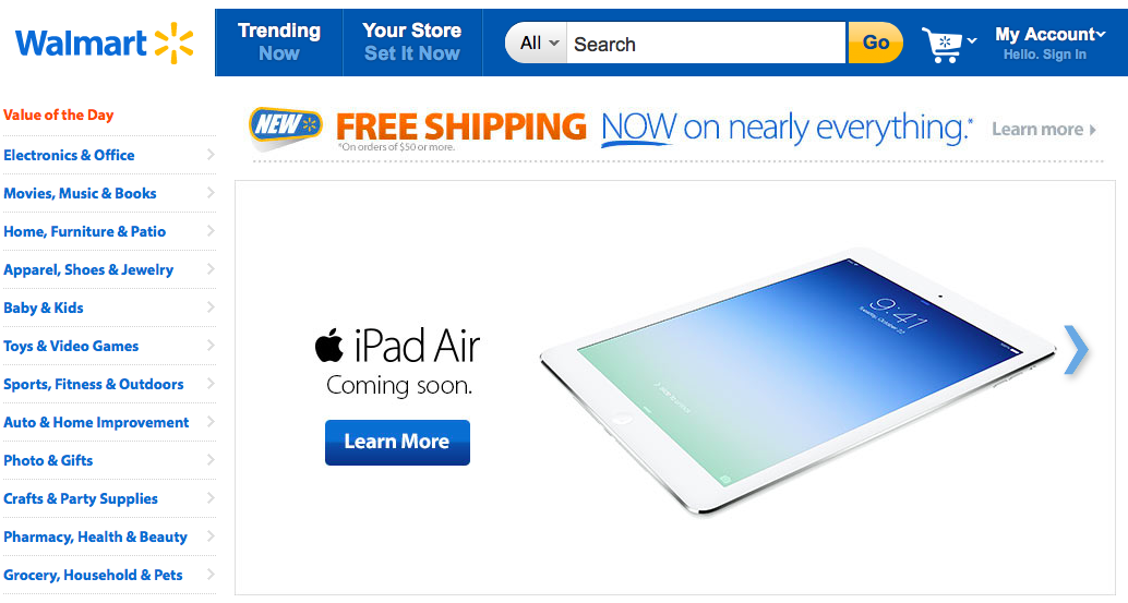 Walmart website (iPad teaser 001)