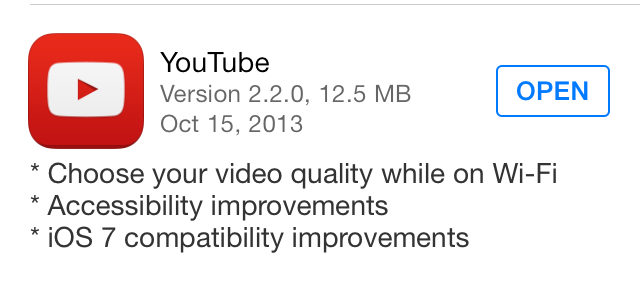 YouTube Update 2.2.0