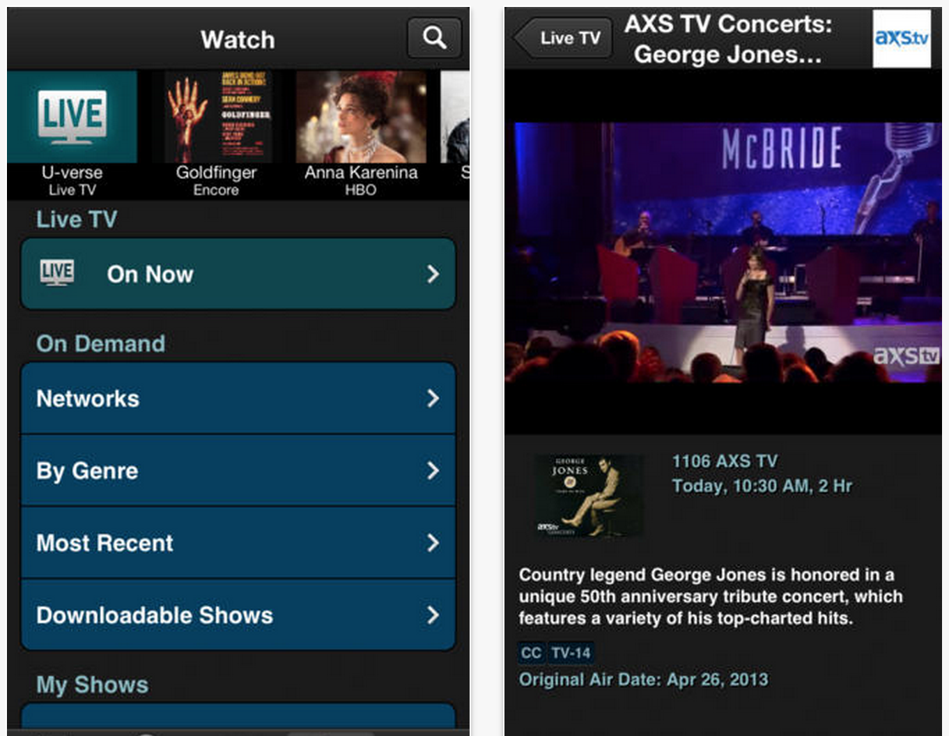 tv apps for iphone at amp t u verse app for iphone updated to let you live tv 16317