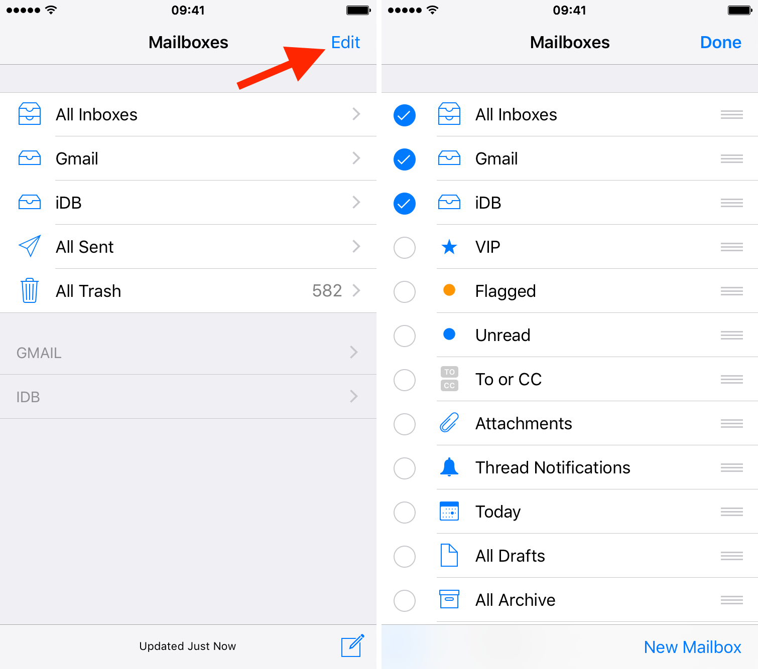 create new mailbox folders ipad