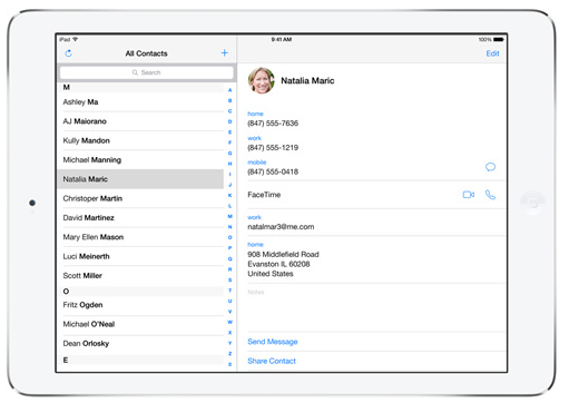 iPad Air Contacts