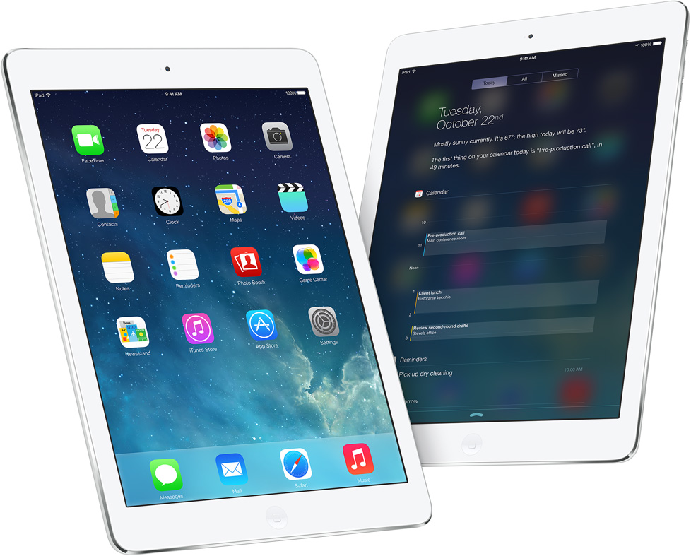 iPad Air Home screen Notification Center