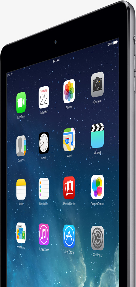 iPad Air Home screen standing up