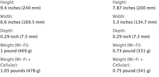 iPad air vs mini retina dimensions weight