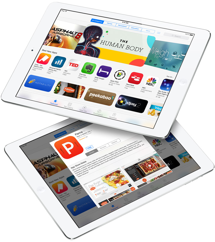 two iPad Air app store