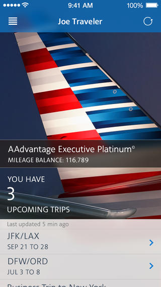 American Airlines 3.0.3 for iOS (iPhone screenshot 001)