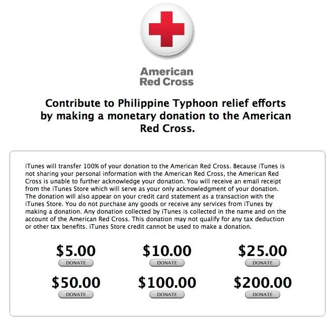 Apple Philippines relief effort in iTunes