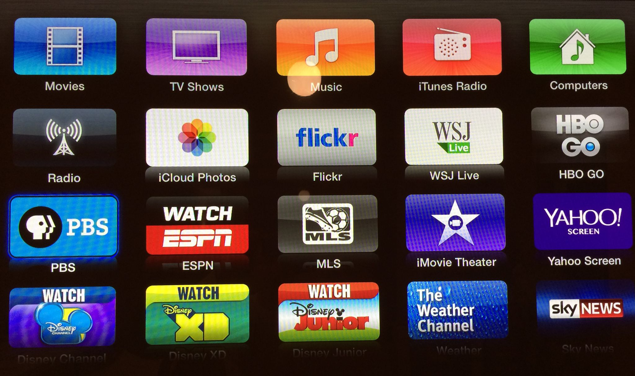 Apple TV (PBS and Yahoo Screen)