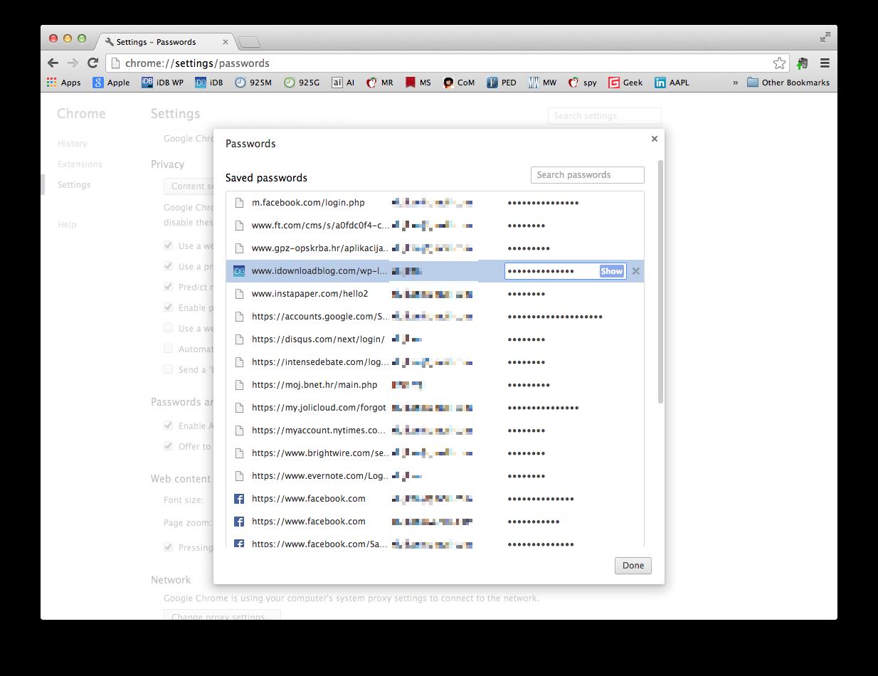 Chrome for Mac (saved passwords)