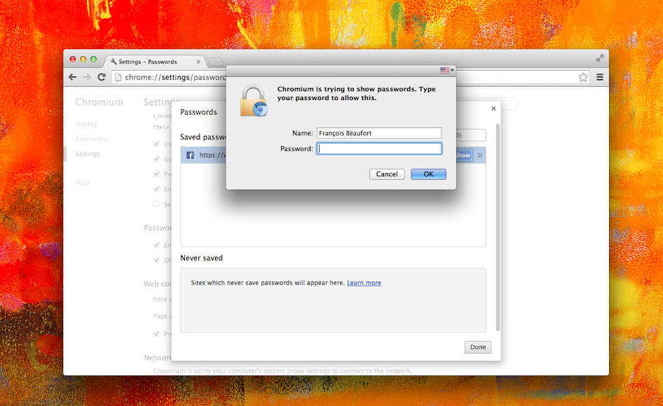 Chromium for Mac (saved web passwords security)