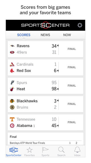 ESPN SportsCenter 4.0 for iOS (iPhone screenshot 001)