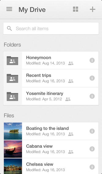 Google Drive 2.0.1 for iOS (iPhone screenshot 002)